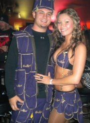 Crown Royal King and Queen:) I made both of our costumes with crown royal bags with the help from my mom:)