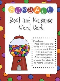 Real and Nonsense Word Sort (Free)