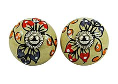 A Set Of 10 Peices White Dotted Small (Pink,Orange,Blue) On Cream Leaf Designed Ceramic Knobs With Chrome Hardwares on Etsy, 36,76 €