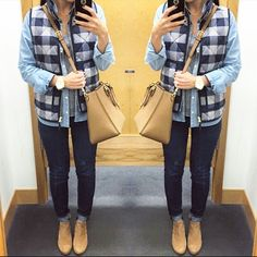 Jcrew factory buffalo plaid vest. Chambray. Tory burch Robinson cross body. Jcrew toothpick jeans. Vince camuto ankle boots.