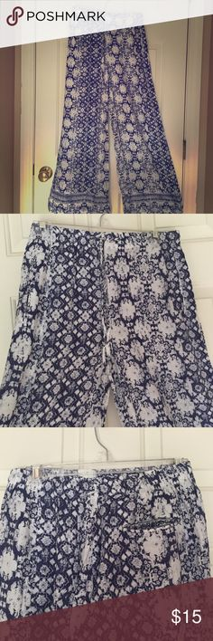 NWT White/Blue Print Palazzo Pants Soft, lightweight and flowy, perfect for Summer!  Two front pockets and one back pocket. 100% Polyester. I. Madeline Pants