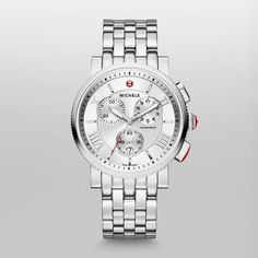 Sport Sail Large Bold yet classic, a three-eye chronograph graces the textured silver dial of our Sport Sail watch. Roman numerals and a five-link bracelet are the finishing touches. The stainless steel bracelet is interchangeable with any 20mm MICHELE strap.