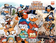 The Life and Times of Scrooge McDuck cover for Uncle Scrooge by Don Rosa. Disney Duck, Disney Mickey, Disney Art, Disney Cartoon Movies, Walt Disney Cartoons, Disney Stuff, Disney Best Friends, Mickey And Friends, Comic Book Covers