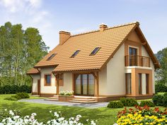 Detached house with attic and garage, intended for person family. Due to the clear layout of the premises and. Casa Disney, Small Garden Landscape, House Elevation, Country House Plans, Wooden House, Design Case, Simple House, Detached House, Home Fashion