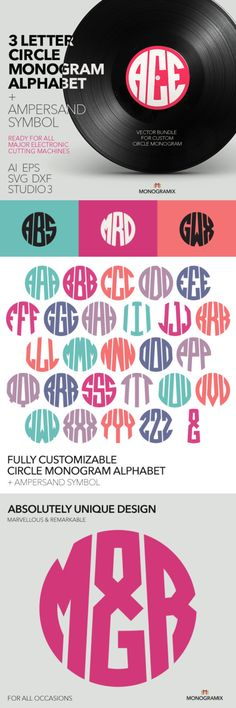 3 Letter Circle Monogram Alphabet (Ai EPS SVG DXF Studio) Personal Monogram Letters Cut files for Silhouette Studio Cutting Machines (3.50 USD) by Monogramix
