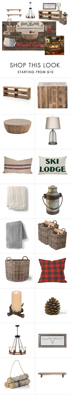 """""""Winter cabin"""" by jowin2323 on Polyvore featuring interior, interiors, interior design, home, home decor, interior decorating, Beekman 1802, Lands' End, Grandin Road and Garden Trading"""