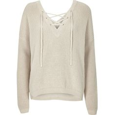 River Island Cream knitted lace-up slouchy jumper ($52) ❤ liked on Polyvore featuring tops, sweaters, knitwear, white jumper, v back sweater, white long sleeve sweater, long sleeve jumper and long sleeve tops