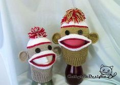 Sock Monkey Ski Mask,INSTANT DOWNLOAD Crochet Pattern
