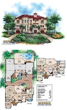 F3-6162 - 3 Story Castello Dal Mare Waterfront House Plan. 4 bedrooms, 4 full baths, 1 half bath, 3 car garage.    More waterfront house plans:  https://www.weberdesigngroup.com/home-plans/style/waterfront-house-plans/  #houseplans #houseplan #tropicalhouseplans #waterfronthouse plans #luxuryhouseplans