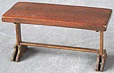 Vintage Dollhouse Wooden Trestle Table