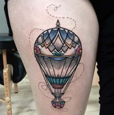 """Hot air balloon tattoos are a """"feel good"""" kind of tattoo. They inspire us with the feeling of absolute freedom, peace and tranquillity. Thanks for caring, thanks for sharing."""