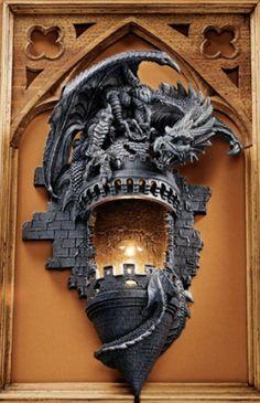 dragon bathroom fixtures | Perched Dragon atop a Medieval Castle Light Fixture. Home Gothic ...