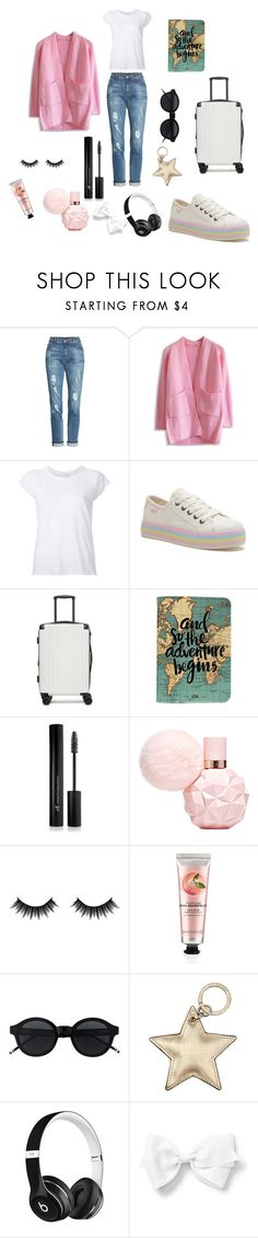 """""""Travel look"""" by miloni-jhaveri ❤ liked on Polyvore featuring KUT from the Kloth, Chicwish, Nili Lotan, CalPak, Forever 21, Morphe, The Body Shop, Aspinal of London and Beats by Dr. Dre"""