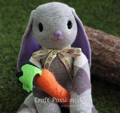 #15 Easy DIY Sock Animals : How to Make Sock Bunny Plush Toys - Diy Craft Ideas & Gardening