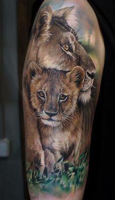 lioness tattoo © Sandra Daukshta Based in Latvia, Riga 💕💕💕💕 Lioness And Cub Tattoo, Lion Cub Tattoo, Lioness And Cubs, Cubs Tattoo, Mommy Tattoos, Leg Tattoos, Sleeve Tattoos, Tatoos, Forest Tattoo Sleeve