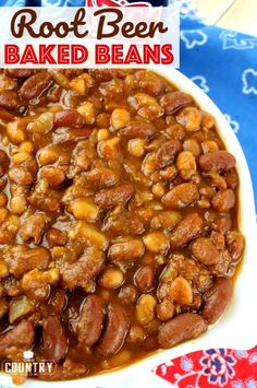 Root Beer Baked Beans The Country Cook - Root Beer Baked Beans are always the surprising hit at any barbecue or potluck! Three types of beans in a thick sweet and tangy sauce! Baked Bean Recipes, Crockpot Recipes, Cooking Recipes, Beans Recipes, Crockpot Dishes, Oven Cooking, Steak Recipes, Paleo Recipes, Delicious Recipes