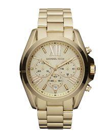 Y0XN3 Michael Kors Mid-Size Bradshaw Chronograph Watch, Golden// love a touch of menswear