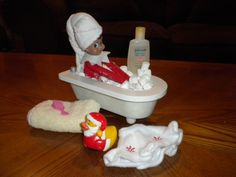 Elf on the Shelf idea. I like this one better than some of the others that place the little dude in a potentially dirty and germ-riddled bathroom. This one is cute.