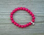 Pink yoga bracelet - pink stone bracelet, hot pink bracelet bright pink bracelet pink crystal jewelry pink boho bracelet, pink yoga bracelet