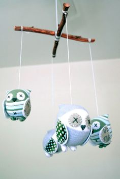 craft schmaft owl mobile - made from socks!