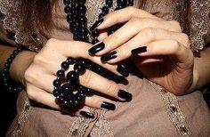 black beads and nails Black White Nails, Black Nail Polish, Nail Polish Art, Nail Polish Designs, Nail Art Designs, Design Art, Boutique Nails, Nail Envy, Beautiful Nail Designs