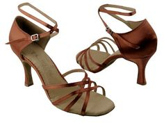 "Amazon.com: Ladies Women Ballroom Dance Shoes for Latin Salsa Tango SERA1606 Dark Tan Satin 2.5"" Heel-$59.95"