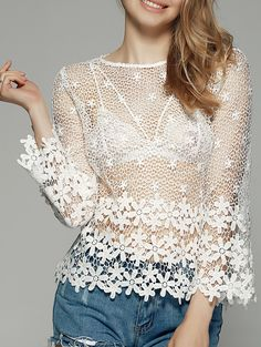 Blouses&Shirts   Sweet See-Through Women's Crochet Blouse #summer #fashion #floral #blouse