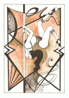 A4 Chest Stand Girl - Pole Dance Art - Watercolour Illustration - Giclée Print by SophReyIllustration on Etsy
