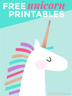 Oh So Lovely Blog shares 2 FREE, cute and colorful unicorn printables! They're…