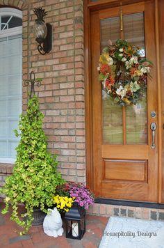 2013 Fall Porch by shirleystankus Fall Wreaths, Door Wreaths, Fall Boards, Porch Area, Topiary, Fall Pumpkins, Fall Season, Fall Crafts, Floral Wreath
