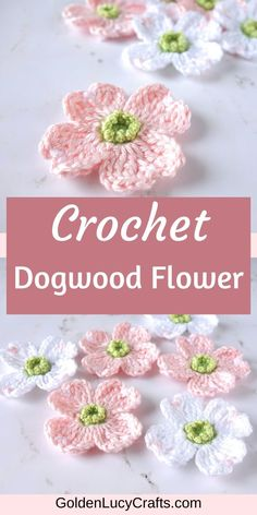 Using this crochet Dogwood flower pattern you can make a beautiful embellishment and you can use it for any Spring decoration! Thread Crochet, Crochet Crafts, Crochet Yarn, Crochet Hooks, Crochet Projects, Crochet Shawl, Crotchet, Crochet Flower Tutorial, Crochet Flowers