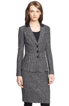 St. John Collection Leather Trim Tweed Knit Jacket available at #Nordstrom