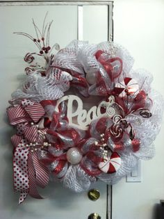 Monogramed Christmas Deco Mesh Wreath by StanushSouthernStyle, $60.00
