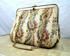 Vintage 1960s Pretty Floral Tapestry Purse by RogueRetro on Etsy