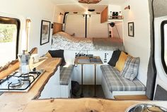 A bed across the width of the van frees up a lot of space but it's not – Camping Tents and Tips - Picbilder- Wir Für Bilder - van life Van Conversion Interior, Camper Van Conversion Diy, Van Conversion Bed Ideas, Van Conversion With Bathroom, Campervan Conversions Layout, Camping Diy, Van Camping, Camping Ideas, Kombi Home