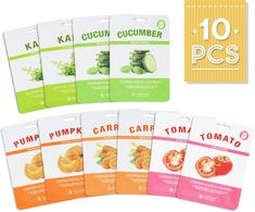 Naisture Korean Face Sheet Masks 10 Count Fresh Vegetable Everyday Veggie Slice Full Facial Mask  Tomato Cucumber Carrot Kale and Pumpkin  10 Pack Set * Click image for more details. (This is an affiliate link and I receive a commission for the sales) #hashtag