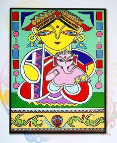 Terracotta Jewellery Online, Jamini Roy, Madhubani Painting, Hindu Deities, Ganesha, Indian Art, Goddesses, Pencil Drawings, Folk Art