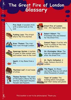 The History: Great Fire of London Revision Book. Tailored for young, dyslexic learners. Designed and written by SEN Specialists. London With Kids, Great Fire Of London, The Great Fire, Learning Maps, Learning Activities, Kids Learning, Learning Tools, Educational Activities, Primary Teaching