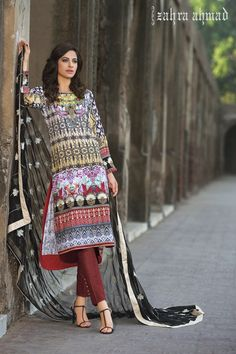 Pakistani Designer Dresses - Lowest Prices - Zahra Ahmad Heritage Lawn Eid Colllection 2015. Stitched Ready to Wear Black Lotus £65 - Latest Pakistani Fashion