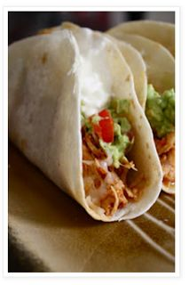 Crockpot Chicken Tacos: use more taco seasoning (at least 2 packets for 6 breasts) and add hot sauce for more spice. This recipe makes a TON.  Also, sub thighs if you want it juicier, but the breasts shredded surprisingly well and were yummy.