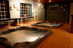Two hot tubs are better than one. At least that's what this home owner decided. These in-ground spas are perfect for easy access and look great with the decor.   For more design inspiration visit: www.bullfrogspas.com/gallery