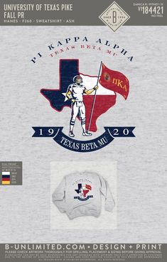 University of Texas Pi Kappa Alpha PR Sweatshirt   Fraternity Event   Greek Event #pikappaalpha #pike #pka #ut Pi Kappa Alpha, University Of Texas, Fraternity, Pride, Greek, Sweatshirts, Artwork, Design, Work Of Art