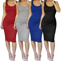 Womens Summer Sexy Bodycon Midi Bandage Dress Party Evening Beachwear Prom Dress
