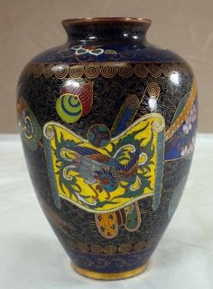 Japanese Cloisonne Vase with Gilt Wire