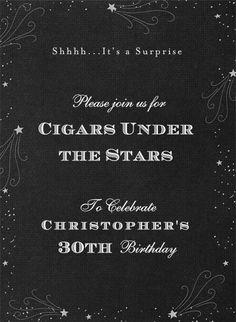 Cigars Under the Stars surprise birthday party invitation