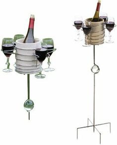 Picnic Plus Wine Carousel - Great for the Backyard! by Picnic Plus. $51.95. Holds 4 wine glasses (not included, insulated wine bucket included. Metal stakes securely hold stand into soil or sand. Outdoor use only. Adjustable poles for ground,sitting and standing heights. Perfect for backyard entertaining. Take a spin with the Picnic Plus wine carousel! There's room for 4 glasses, which surround the insulated wine bucket that safely protects your bottle while you...