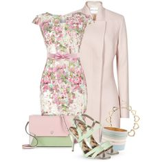 """Pink, White & Green"" by quirkyoak on Polyvore"