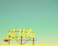 Canary yellow vintage motel sign mustard jersey shore blue green aqua opal sunset beach holiday