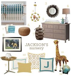 boy nursery- love the colors, love the Wild Things picture, love the name Jackson!