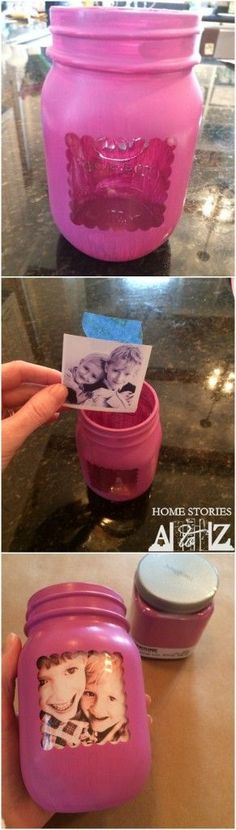 Mason jar picture frame for Mother's Day, perfect gift for my sis from Chey! :) (mason jar food display)